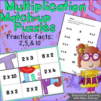 Multiplication Match-up Puzzles 2, 5, 10 {Subway Art}