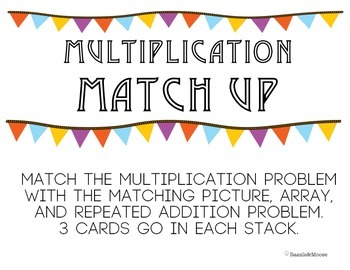 Multiplication Match up (repeated addition, arrays, and pi