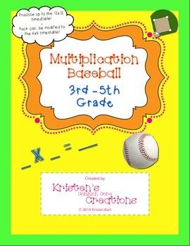 Multiplication Math Fact Center Baseball Game 3rd 4th 5th