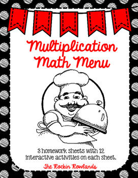 Multiplication Math Menu