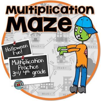 Multiplication Maze ⍨ Halloween Math Activity ⍨ 3rd grade,