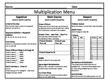 Multiplication Menu 2