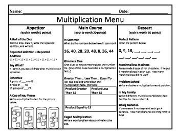 Multiplication Menu 6