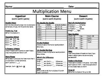 Multiplication Menu 9