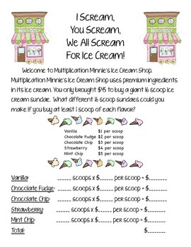 Multiplication Minnie's Ice Cream Shop