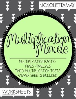 Multiplication Minute Worksheets for FIVES - TWELVES