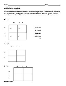 Multiplication Model Method (Common Core)