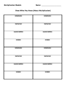 Multiplication Models Worksheet