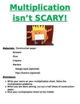 Multiplication Monsters Activity - Multiplication isn't Scary!