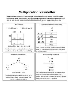 Multiplication Newsletter to Parents