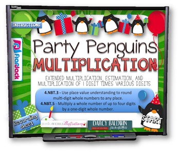 Multiplication Party Penguins PowerPoint Game