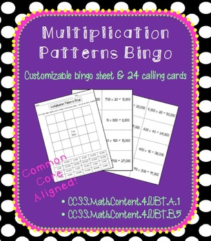 Multiplication Patterns Bingo