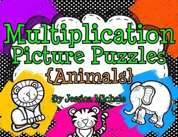 Multiplication Picture Puzzles {Animals}