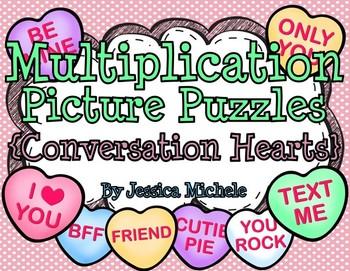 Multiplication Picture Puzzles {Conversation Hearts}