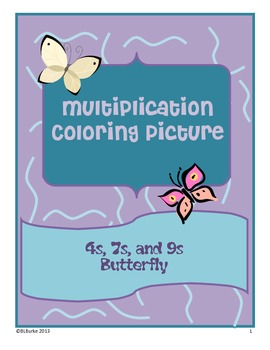 Multiplication Picture - math facts for 4s, 7s, and 9s - B