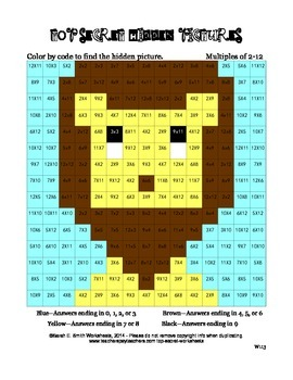 Multiplication Practice Color by Code Lion Multiples of 2-12
