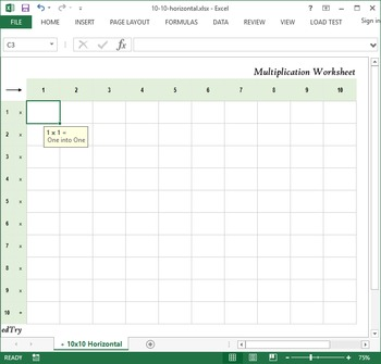 Multiplication Practice Excel Worksheet