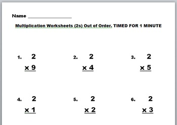 Multiplication Practice and quizes Facts 2-9 WORD DOCS