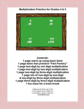 Multiplication Practice for Grades 4 & 5