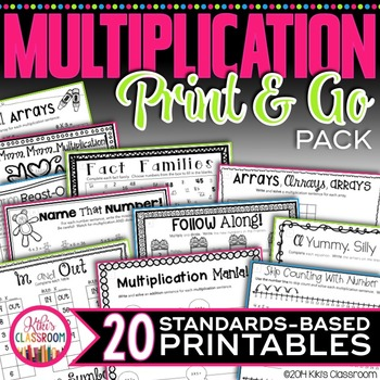 Multiplication Facts Practice - Print & Go Multiplication