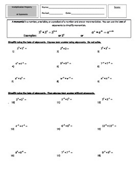Multiplication Property of Exponents