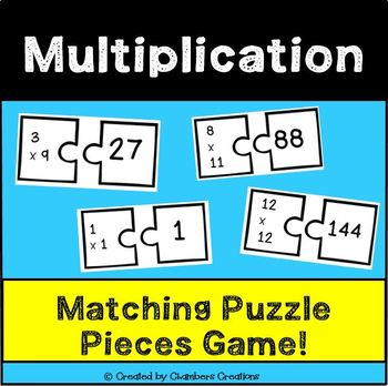 Multiplication Puzzle Piece Matching Game! 138 cards!
