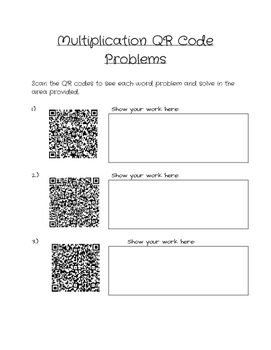 Multiplication QR Code Worksheet