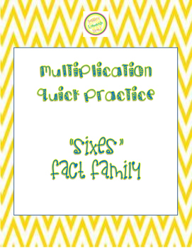 "Multiplication Quick Quiz ""6"" Fact Family - Learn to Multi"