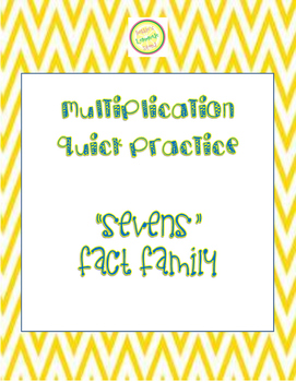 """Multiplication Quick Quiz """"7"""" Fact Family - Learn to Multi"""