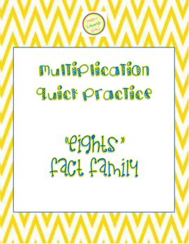 "Multiplication Quick Quiz ""8"" Fact Family - Learn to Multi"