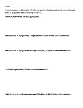 Multiplication Recording Sheet for Khan Academy Videos