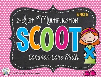 Multiplication SCOOT! Task Cards: 2-Digit x 2-Digit 5.NBT.5