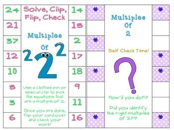 Multiplication Self Check Flip Cards 2-12