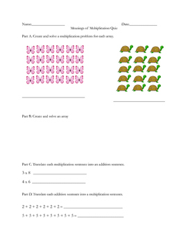 Multiplication Sense Quiz