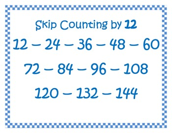 Multiplication, Skip-counting posters! 2-12