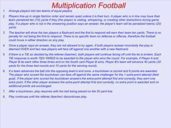 Flashcard Facts Football and Baseball Game