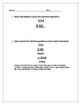 Multiplication Standard Algorithm Error Analysis Worksheet