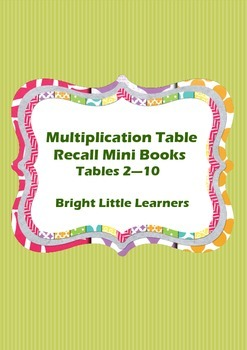 Multiplication Table Recall Practice Mini Books - Tables 2 - 10
