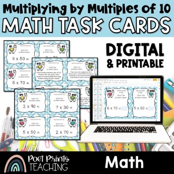 Multiplication Task Cards, By Tens
