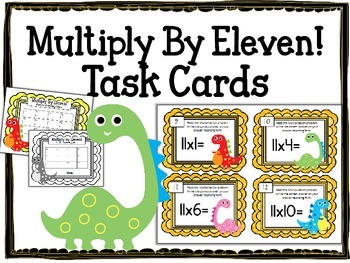 Multiplication Task Cards.Multiply by Eleven 11 Times Tabl