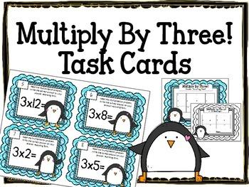 {FREEBIE} Multiplication Task Cards.Multiply by THREE. Tim