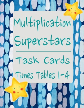Multiplication Superstar Flash Cards - Times Tables 1 - 4