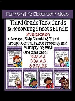 Multiplication - Third Grade Unit Three Task Cards with Co