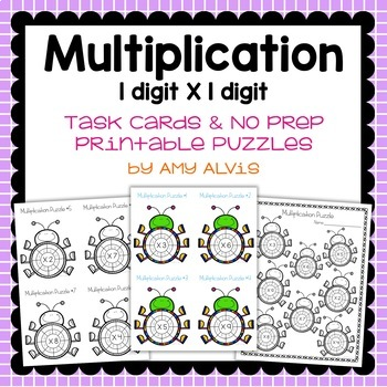 Multiplication Task Cards and NO PREP Printable Puzzles FREEBIE
