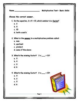 Multiplication Test - Foundational Skills
