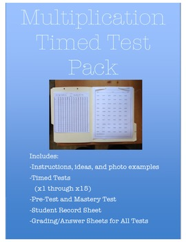Multiplication Timed Test Package