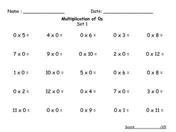 Multiplication Timed Tests Set 1 (0-12)