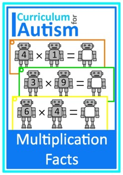 Robots Times Table Multiplication Facts Write & Wipe, Auti