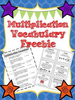 Multiplication Vocabulary Freebie!!!