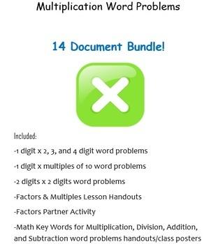 Multiplication Word Problems BUNDLE! (9 Word documents)
